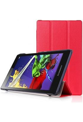 Ally Lenovo Tab 2 A8 - 50 Gizli Mıknatıslı Standlı Ultra İnce Deri Kılıf