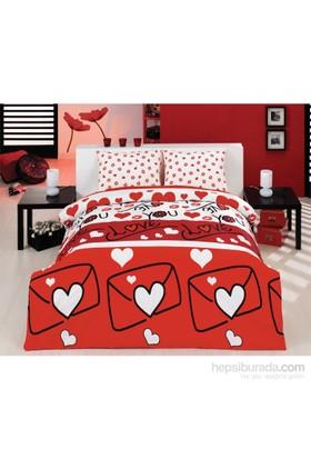 Eponj Home Kolay Ütülenir Nevresim Takımı Tek Kişilik Lovestory Kırmızı