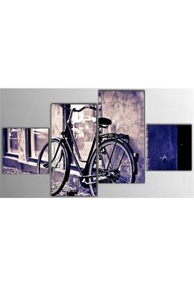 Tictac 4 Parça Kanvas Tablo - Mor Bisiklet