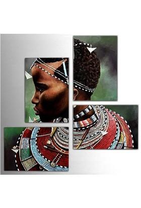 Tictac 4 Parça Kanvas Tablo - Afrikalı Adam