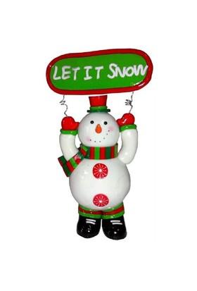 Let It Snow Yazılı Kardan Adam Figürü