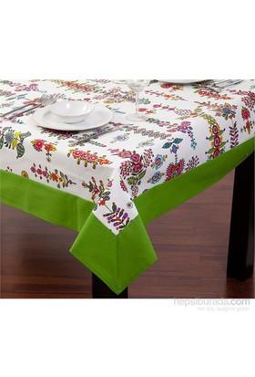 Yastıkminder Koton Yeşil Çiçekli Kare Masa Örtü