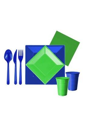 Pandoli 127 Parça Yeşil Lacivert Renk Plastik 16 Kişilik Parti Sofra Seti