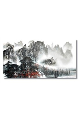 Tictac Dağlar Ve Kar Kanvas Tablo - 60X120 Cm