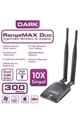 Dark RangeMax 300Mbps Çift Antenli Wireless-N USB Adaptör (Win10 Destekli) (DK-NT-WDN300HP2A)
