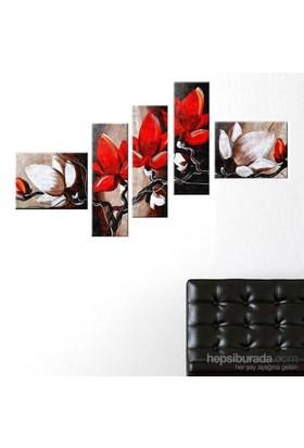 Kırmızı Çiçekler - 5 Parçalı Kanvas Tablo