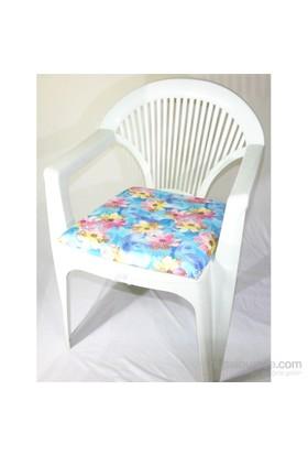 Deran 4Lü Sandalye Minderi Pembe Çiçek Mavi Desen 225