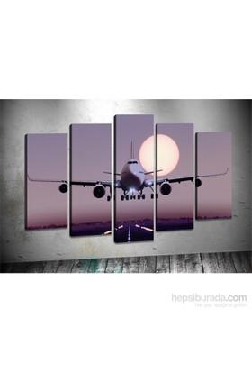 Tablo Center Uçak 5 Parçalı Kanvas Tablo