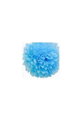 Parti Şöleni Ponpon Çiçek Süs Mavi 1 Adet