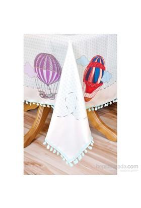 The Mia Balon Desenli Masa Örtüsü 140X140 Cm