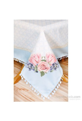 The Mia Çiçek Desenli Masa Örtüsü 140X140 Cm Mavi