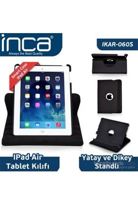 Inca iPad Air Smart Case 360 Derece Hareketli 3 Kademeli Stand Siyah Deri Kılıf