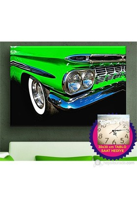 Green Vintage Car Kanvas Tablo