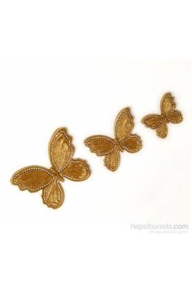 3 lü Dekoratif Taşlı Kelebek Altın