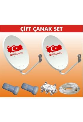 Hiremco Çift Çanak + Universal Lnb + Diseqc Swıch + 40 Mt Kablo