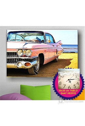 Vintage Pink Car Kanvas Tablo