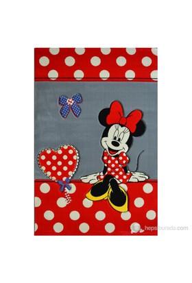Poypoy Disney Minnie Gri Kırmızı Anti Alerjik Çocuk Halısı 120X180cm