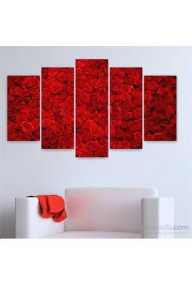 Dekoriza Kırmızı Güller Kanvas Tablo 5 Parçalı Kanvas Tablo 110X60cm
