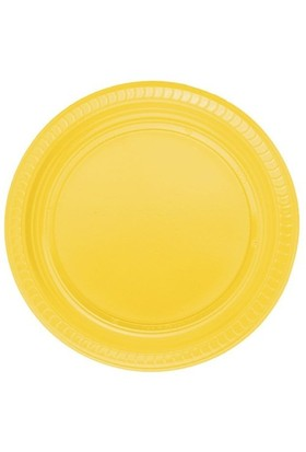 Pandoli Sarı Renk 22 Cm Plastik Parti Tabağı 25 Adet