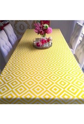 Clemensi Dekorluk Sarı Desenli Masa Örtüsü