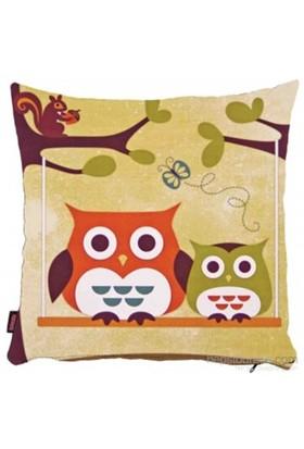 Bengü Accessories Baykuş Desenli Dekoratif Yastık 2