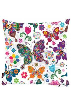 Bengü Accessories Kelebek Desenli Dekoratif Yastık