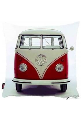 Bengü Accessories Kırmızı Woswos Van Minibüs Desenli Dekoratif Yastık 2
