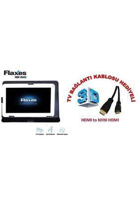 """Flaxes FDK-900S Universal 9"""" Siyah Tablet Kılıfı + TV Bağlantı Kablosu Hediyeli"""