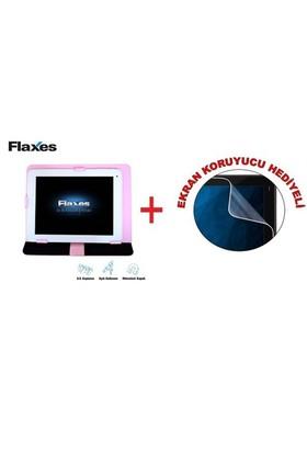 """Flaxes FDK-800P Universal 8"""" Pembe Tablet Kılıfı + Ekran Koruyucu Hediyeli"""