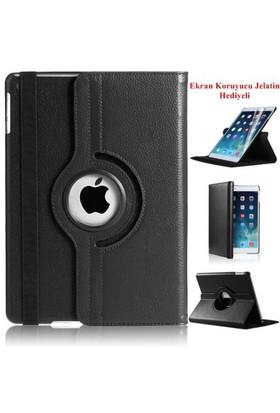 Romeca iPad Air 2 360 Derece Dönebilen Siyah Tablet Kılıfı + Ekran Koruma Filmi Hediyeli
