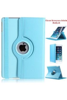 Romeca iPad Air 2 360 Derece Dönebilen Mavi Tablet Kılıfı + Ekran Koruma Filmi Hediyeli