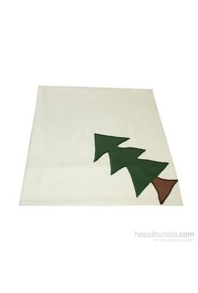 Yastıkminder Koton Beyaz Yeşil Küçük Ağaç Dikdörtgen Masa Örtü