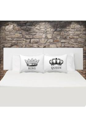 Kral Ve Kraliçe Çift Yastık