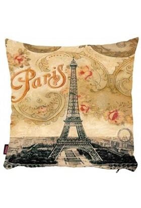 Bengü Accessories Paris Eyfel Kulesi Desenli Dekoratif Yastık 40X40 Cm