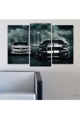 Dekoriza Spor Arabalar 3 Parçalı Kanvas Tablo 80X50cm