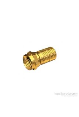 Mts F Konnektör, Vidalı Tip, Altın Kaplamalı Sarı. Tv-1060