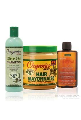Organics Kimyasal İşlem Görmüş Onarıcı Saç Mayonezi Bakım Seti (Küçük) 3'Lü