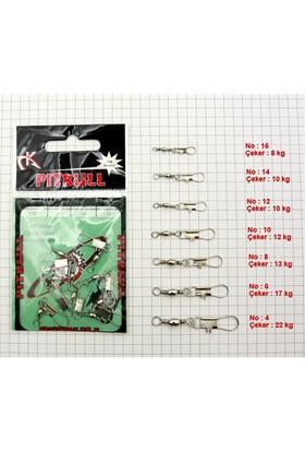 Pitbull Barrel Swivel / Interlock Snap - Nikel 10 Adet - No:16