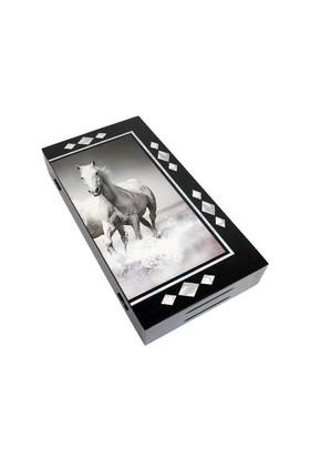 Star Lüx Figürlü Tavla Beyaz Atlar