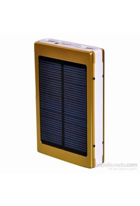 Apprise 8000 mAh Led Işıklı Solar Taşınabilir Powerbank Şarj Aleti Altın