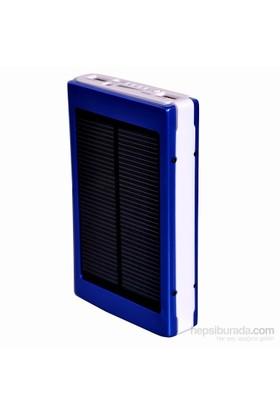 Apprise 8000 mAh Led Işıklı Solar Taşınabilir Powerbank Şarj Aleti Mavi