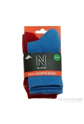 Norfolk Çocuk Çorap Mavi Kırmızı