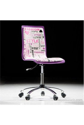Handy Mate Pop Art Çalışma Sandalyesil Lila Beyaz - Yazılı Baskı-Krom Ayak
