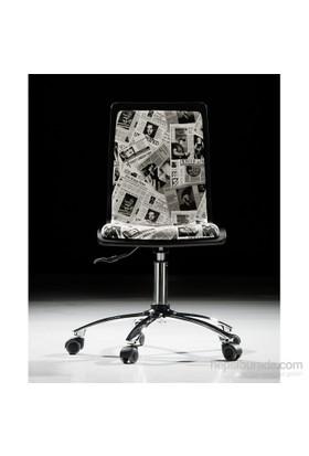 Handy Mate Pop Art Çalışma Sandalyesi Lila Beyaz Yazılı Baskı-Krom Ayak