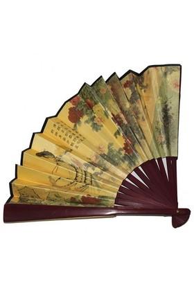 Pandoli Desenli Ahşap Geyşa Kimono Yelpazesi