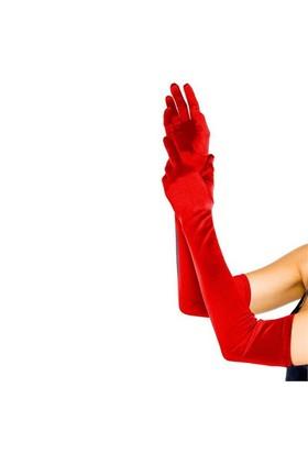 Pandoli Extra Uzun Boy Yetişkin Saten Eldiven Kırmızı Renk