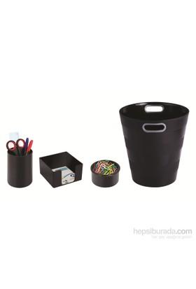 Ark Collection Ofis Seti Neo Siyah (Çöp kovası + Kalemlik + Küpnotluk + Ataşlık)