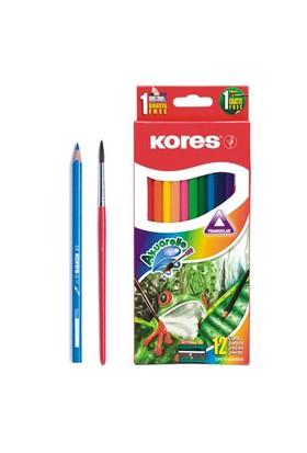 Kores Aquarel Boya Kalemi Kalemtraş + Fırça 12'li