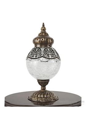 Superlight Topkapı Şeffaf Camlı Masa Lambası Antik Eskitme