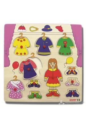 Ekoplay Elbise Değiştirme Ahşap Yapboz (30 x 30 cm)